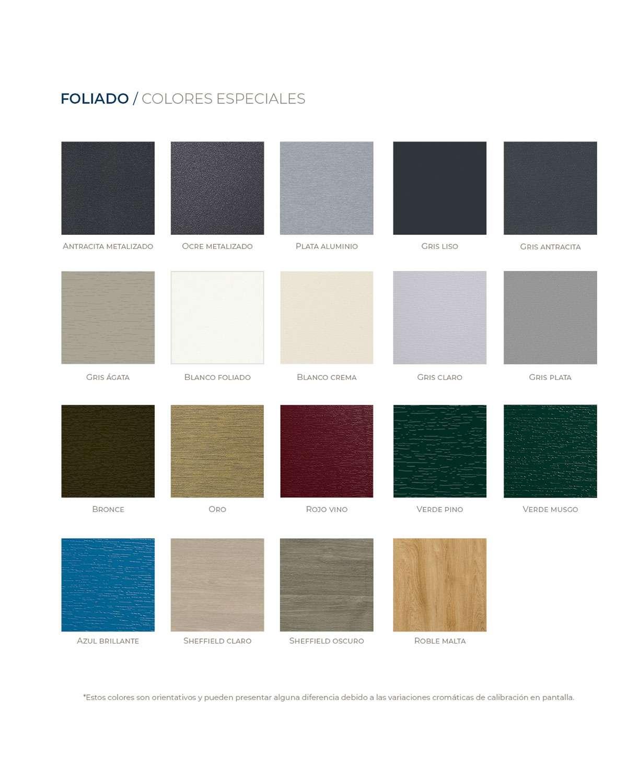 Colores para ventanas de PVC